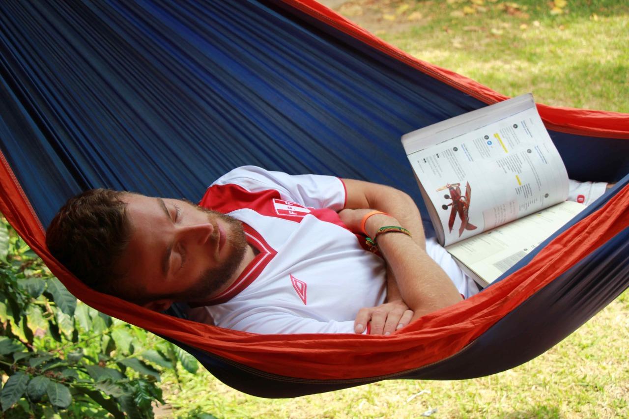 Caspar learning for his Spanish exam