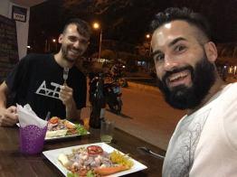 His first Peruvian Ceviche!