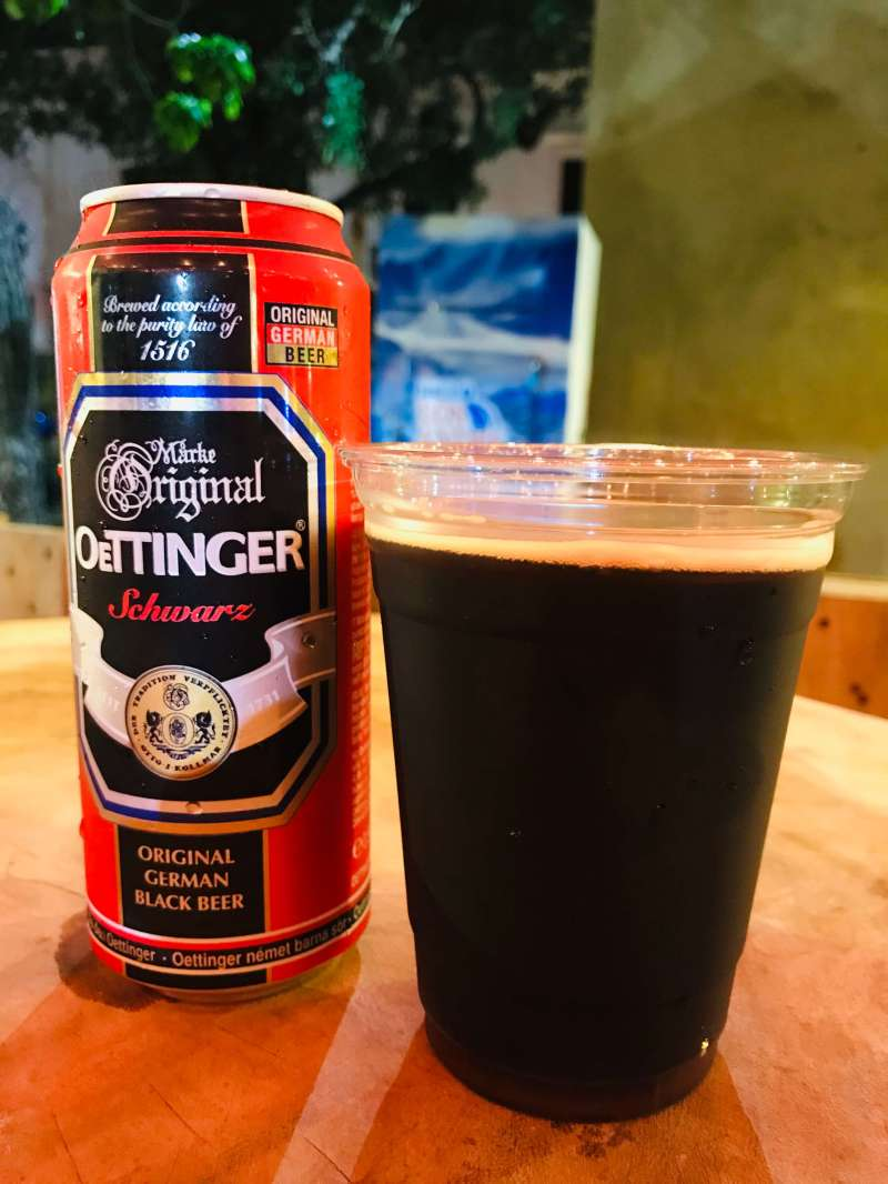 Oettinger beer served in a can