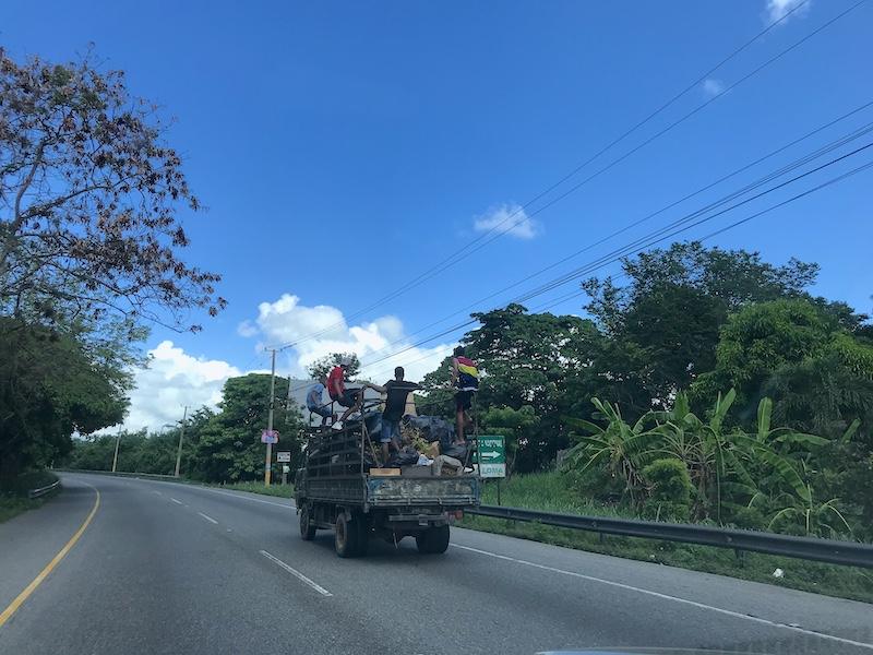 Overloaded truck in the Dominican Republic